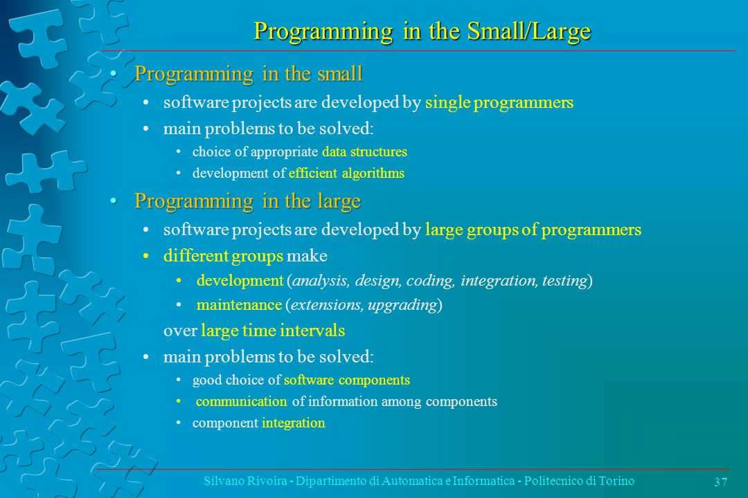 Programming in the Small/Large