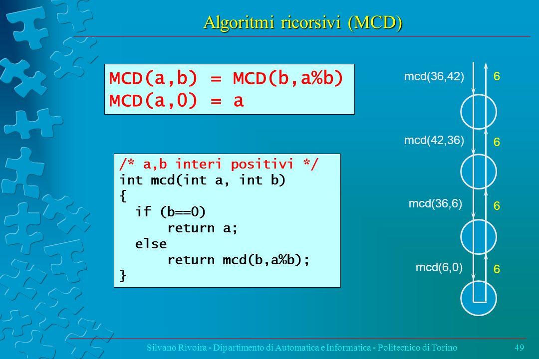 Algoritmi ricorsivi (MCD)