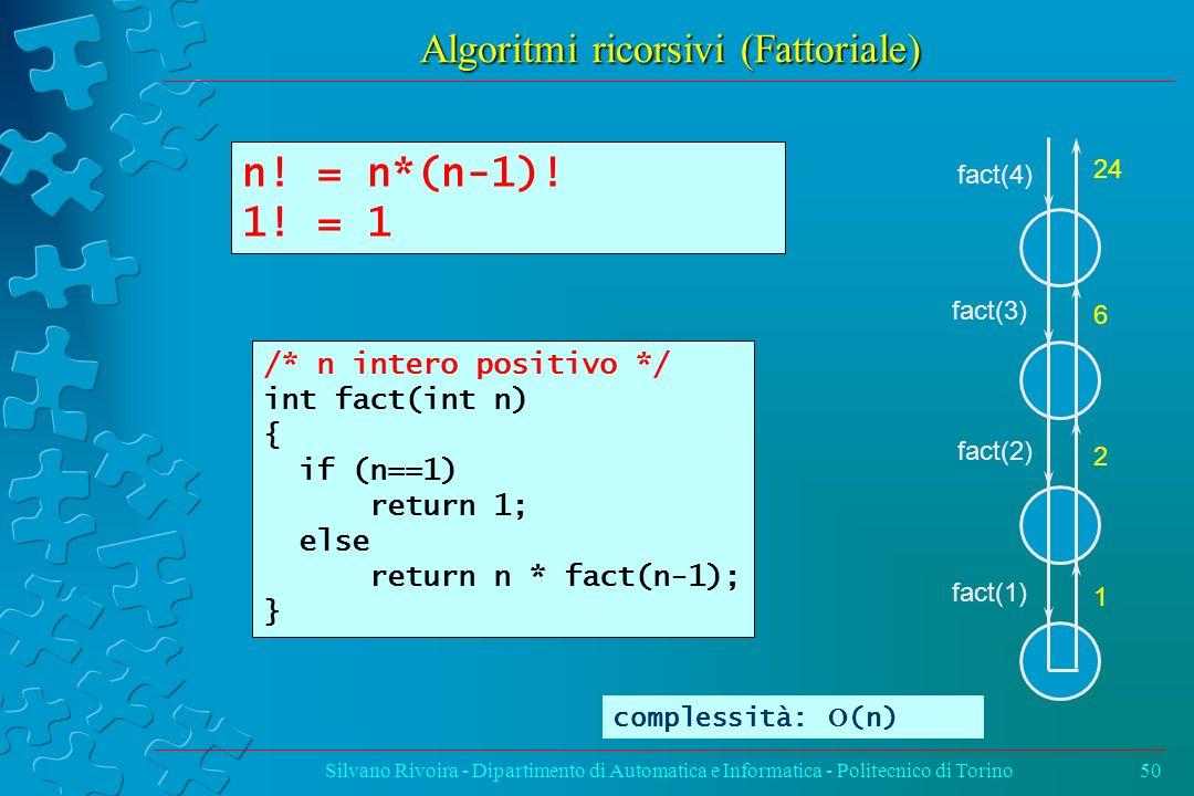 Algoritmi ricorsivi (Fattoriale)