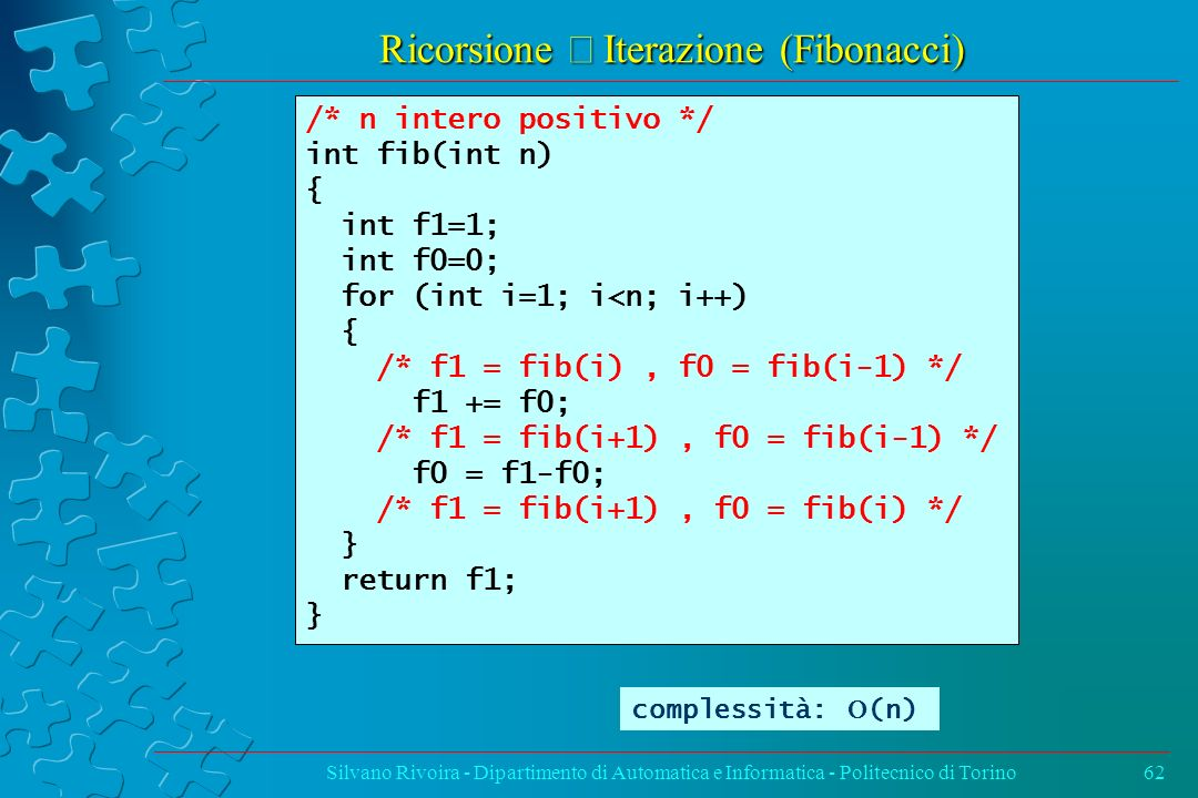Ricorsione Û Iterazione (Fibonacci)
