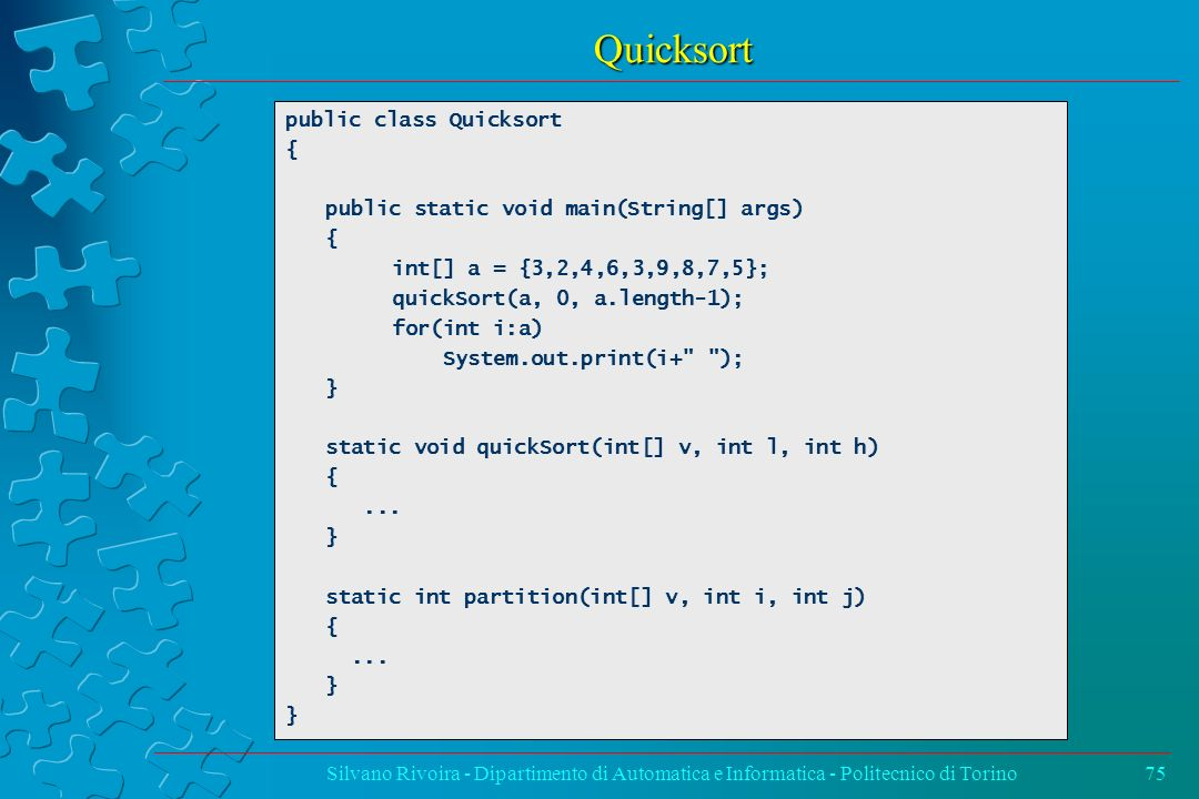 Quicksort public class Quicksort {