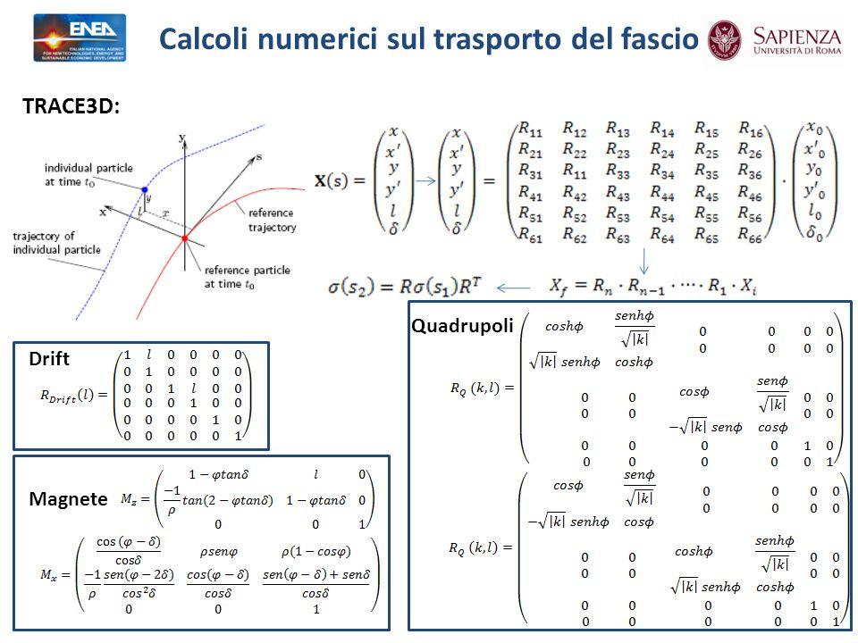 Calcoli numerici sul trasporto del fascio