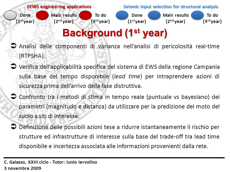Background (1st year) Analisi delle componenti di varianza nell'analisi di pericolosità real-time (RTPSHA).
