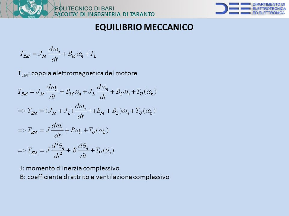 EQUILIBRIO MECCANICO TEM: coppia elettromagnetica del motore