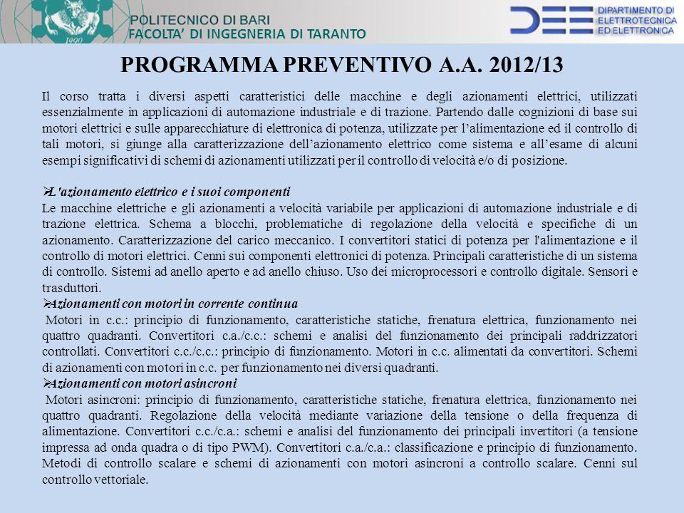 PROGRAMMA PREVENTIVO A.A. 2012/13
