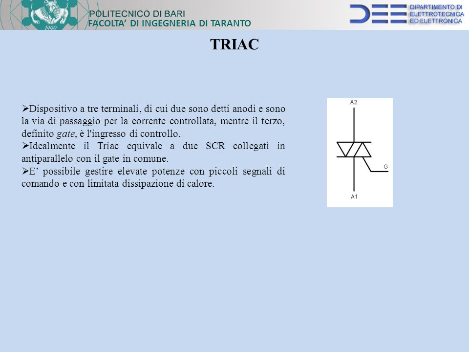 TRIAC FACOLTA' DI INGEGNERIA DI TARANTO