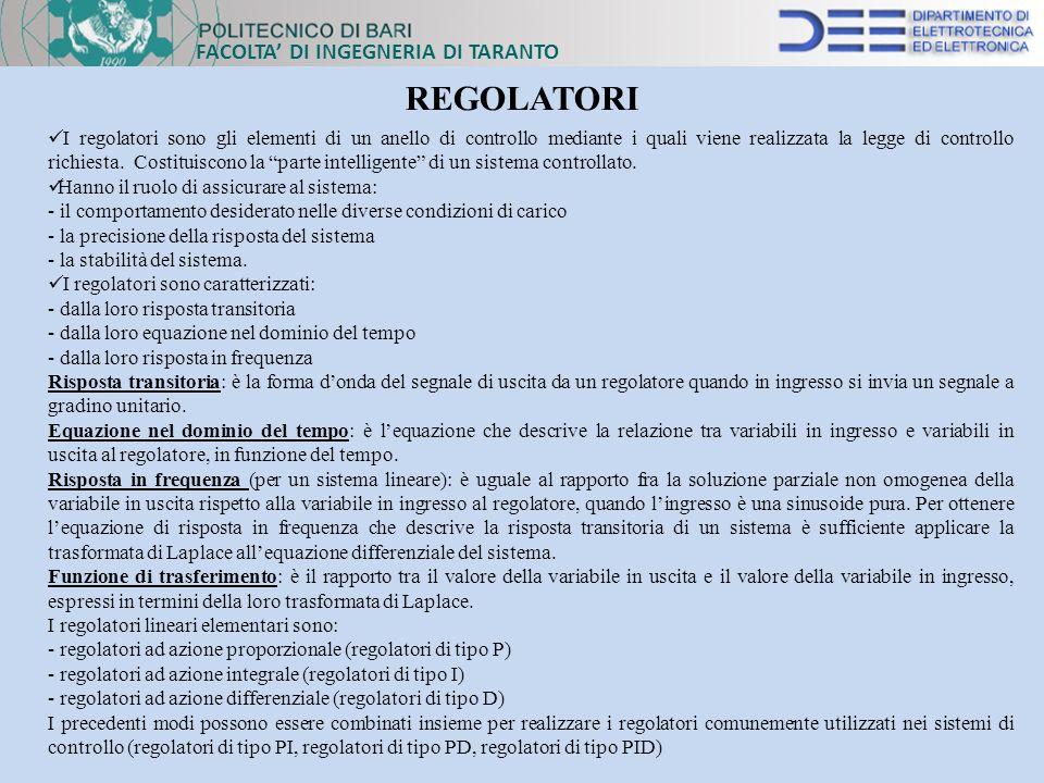 REGOLATORI FACOLTA' DI INGEGNERIA DI TARANTO
