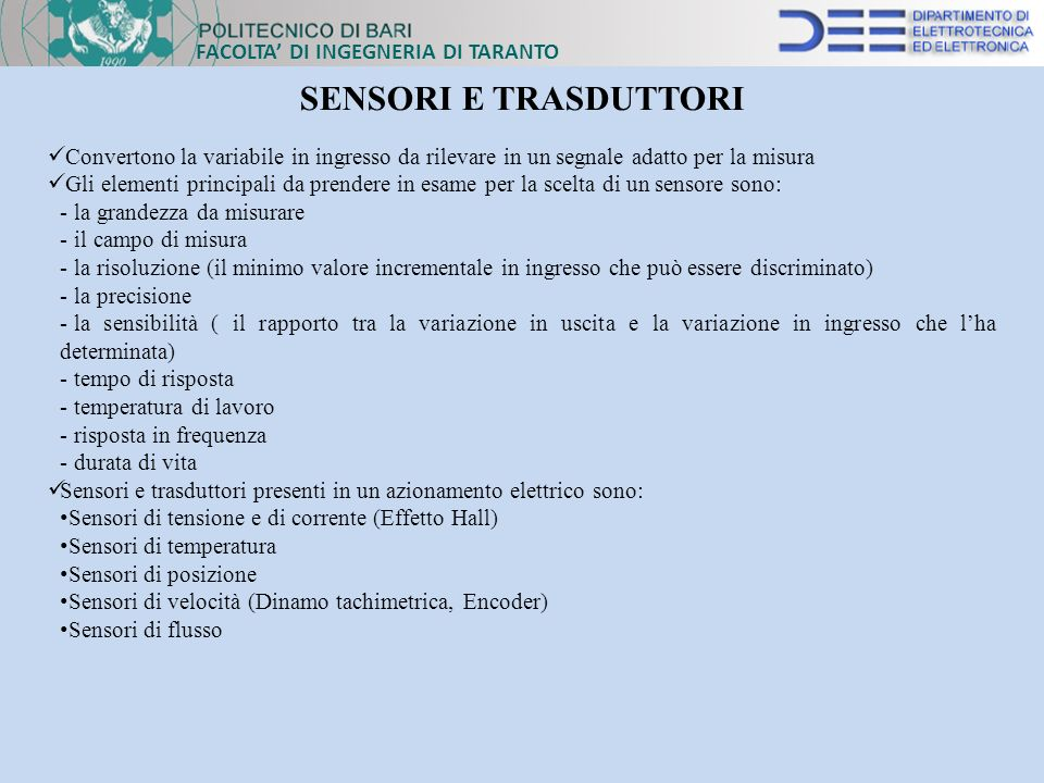 SENSORI E TRASDUTTORI FACOLTA' DI INGEGNERIA DI TARANTO