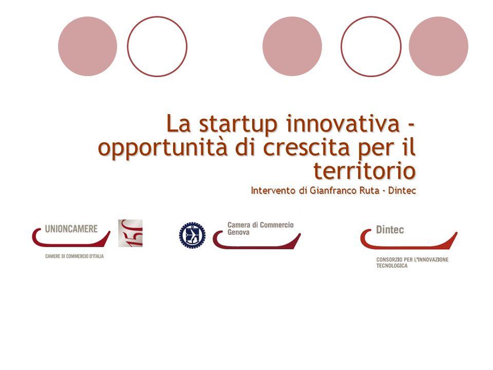 La startup innovativa - opportunità di crescita per il territorio