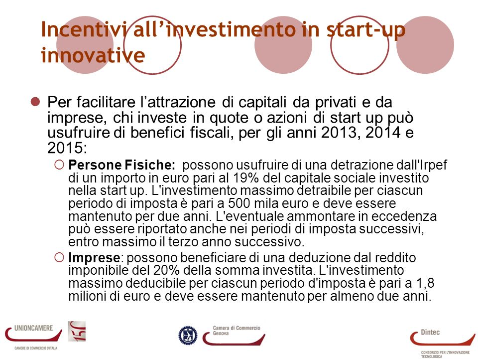 Incentivi all'investimento in start-up innovative