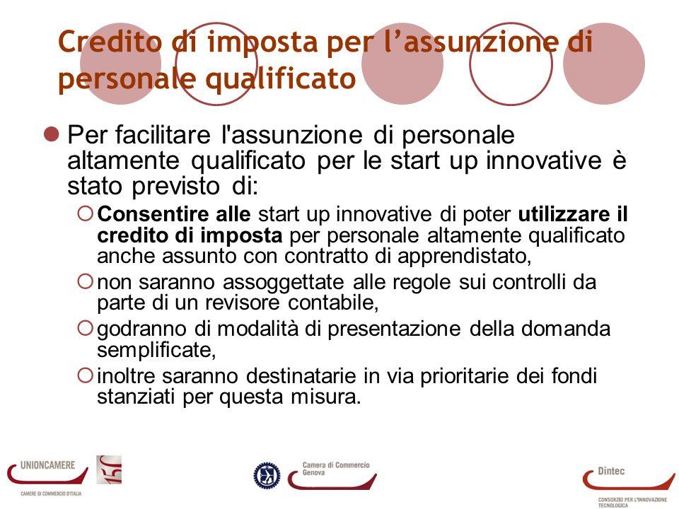 Credito di imposta per l'assunzione di personale qualificato
