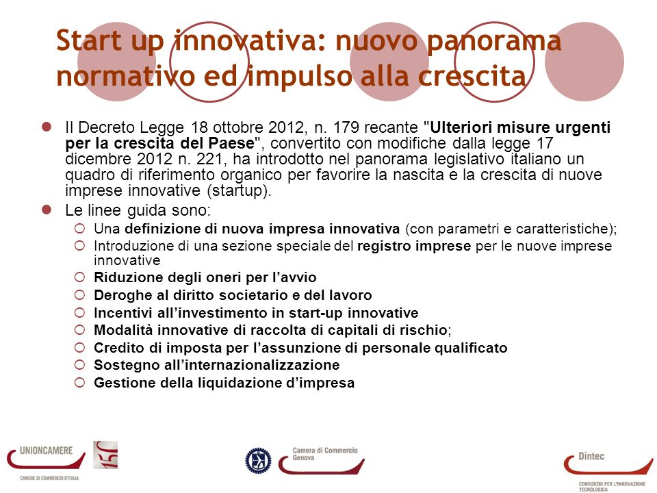 Start up innovativa: nuovo panorama normativo ed impulso alla crescita