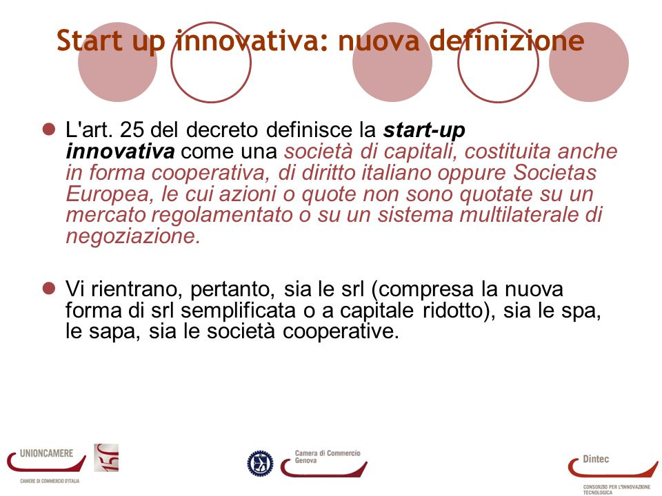 Start up innovativa: nuova definizione
