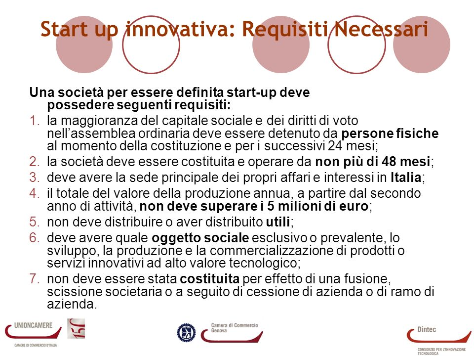 Start up innovativa: Requisiti Necessari