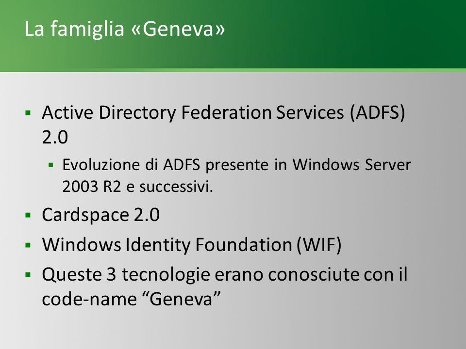 La famiglia «Geneva» Active Directory Federation Services (ADFS) 2.0