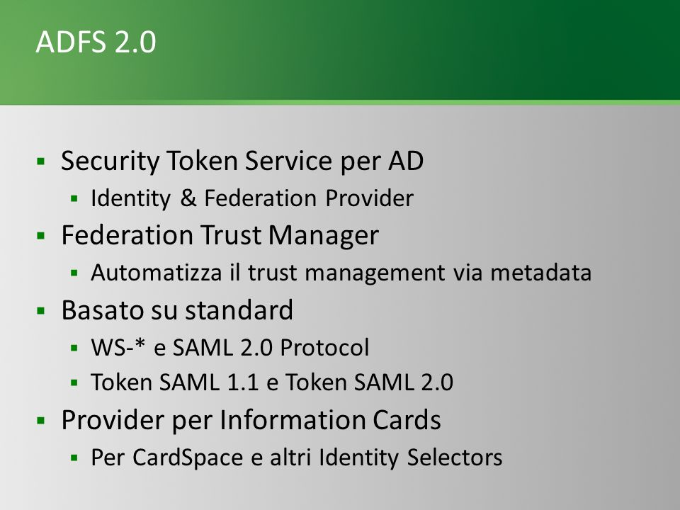 ADFS 2.0 Security Token Service per AD Federation Trust Manager