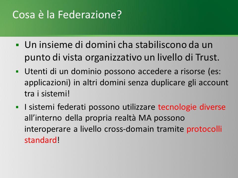 Cosa è la Federazione Un insieme di domini cha stabiliscono da un punto di vista organizzativo un livello di Trust.