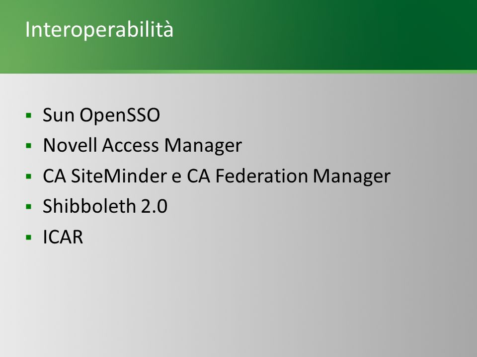 Interoperabilità Sun OpenSSO Novell Access Manager