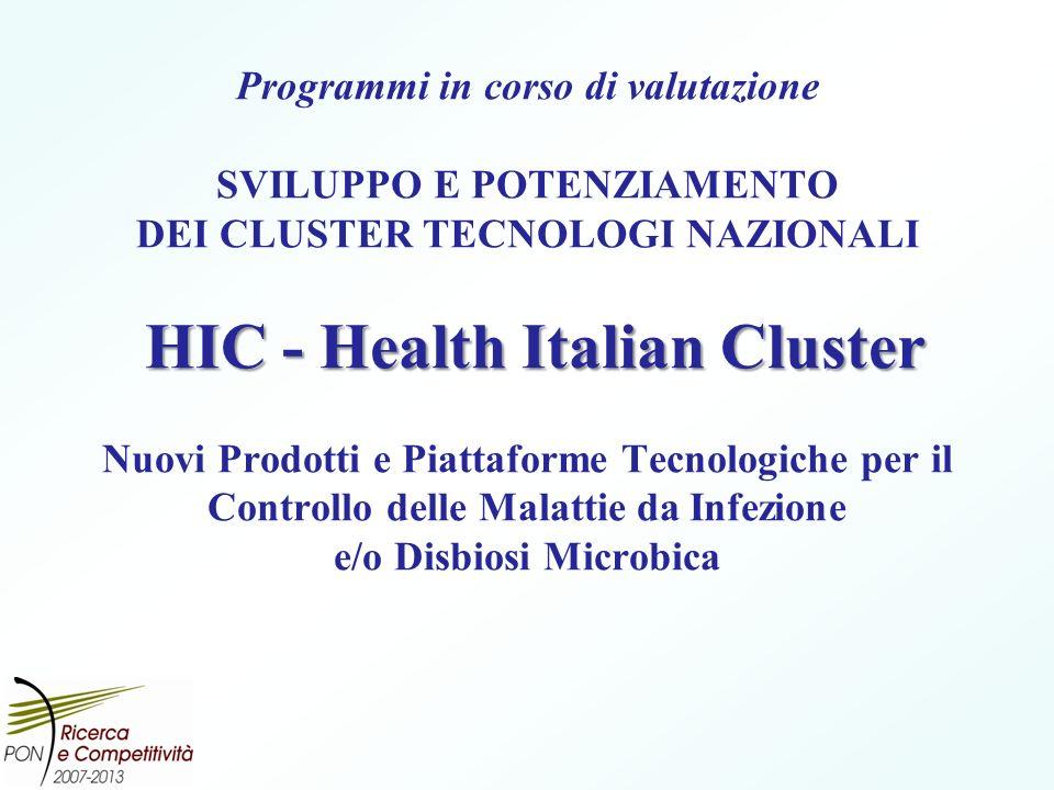 Programmi in corso di valutazione SVILUPPO E POTENZIAMENTO DEI CLUSTER TECNOLOGI NAZIONALI HIC - Health Italian Cluster Nuovi Prodotti e Piattaforme Tecnologiche per il Controllo delle Malattie da Infezione e/o Disbiosi Microbica