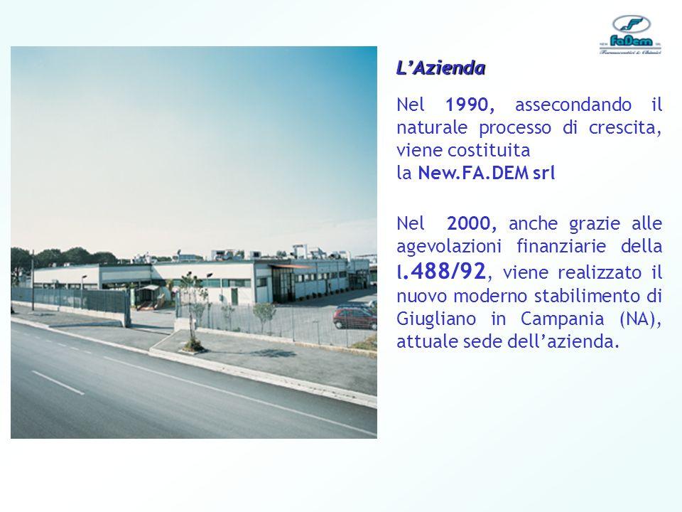 L'Azienda Nel 1990, assecondando il naturale processo di crescita, viene costituita. la New.FA.DEM srl.