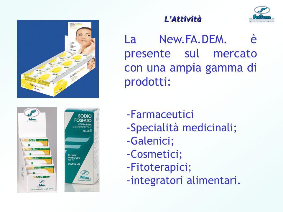 La New.FA.DEM. è presente sul mercato con una ampia gamma di prodotti: