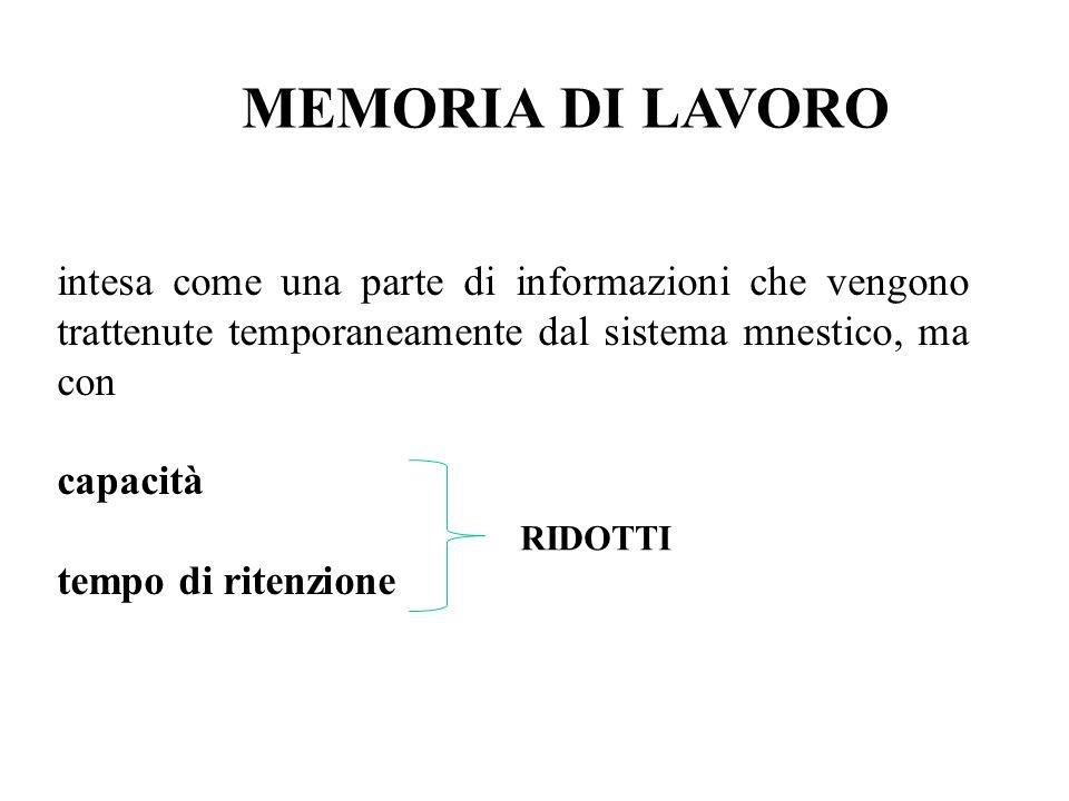 MEMORIA DI LAVORO intesa come una parte di informazioni che vengono trattenute temporaneamente dal sistema mnestico, ma con.