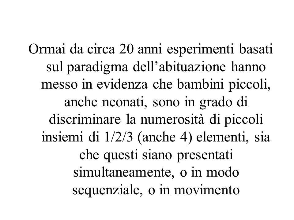 Ormai da circa 20 anni esperimenti basati sul paradigma dell'abituazione hanno messo in evidenza che bambini piccoli, anche neonati, sono in grado di discriminare la numerosità di piccoli insiemi di 1/2/3 (anche 4) elementi, sia che questi siano presentati simultaneamente, o in modo sequenziale, o in movimento