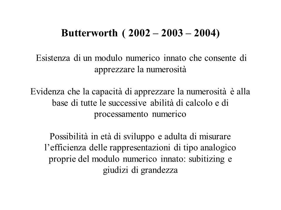 Butterworth ( 2002 – 2003 – 2004) Esistenza di un modulo numerico innato che consente di apprezzare la numerosità Evidenza che la capacità di apprezzare la numerosità è alla base di tutte le successive abilità di calcolo e di processamento numerico Possibilità in età di sviluppo e adulta di misurare l'efficienza delle rappresentazioni di tipo analogico proprie del modulo numerico innato: subitizing e giudizi di grandezza