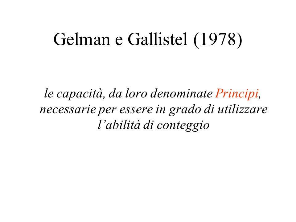 Gelman e Gallistel (1978) le capacità, da loro denominate Principi, necessarie per essere in grado di utilizzare l'abilità di conteggio.