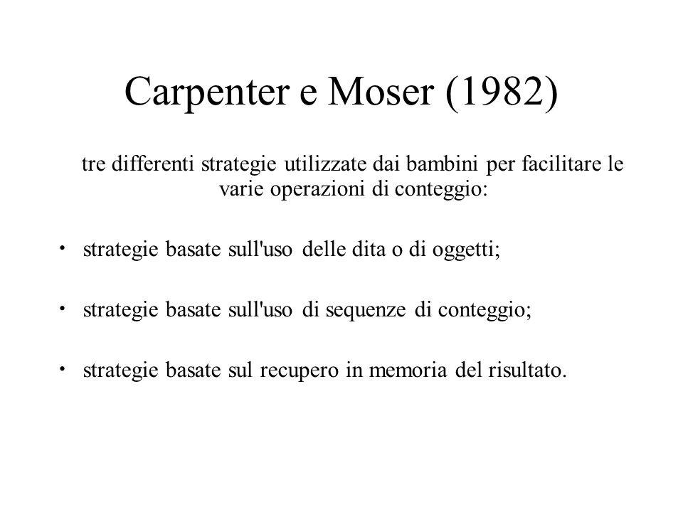 Carpenter e Moser (1982) tre differenti strategie utilizzate dai bambini per facilitare le varie operazioni di conteggio: