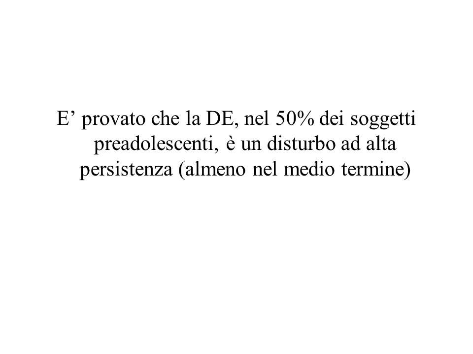E' provato che la DE, nel 50% dei soggetti preadolescenti, è un disturbo ad alta persistenza (almeno nel medio termine)