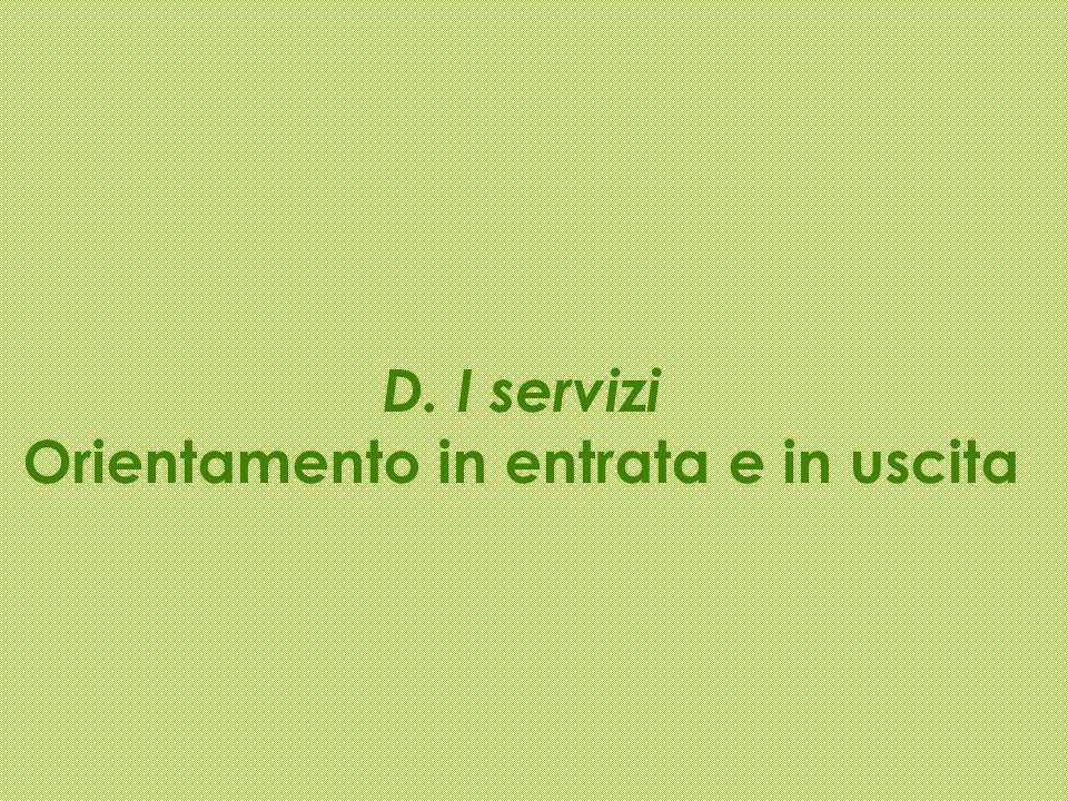 D. I servizi Orientamento in entrata e in uscita