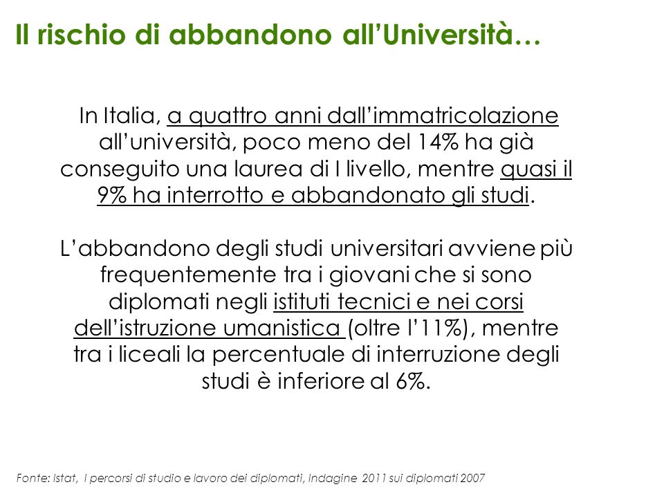 Il rischio di abbandono all'Università…