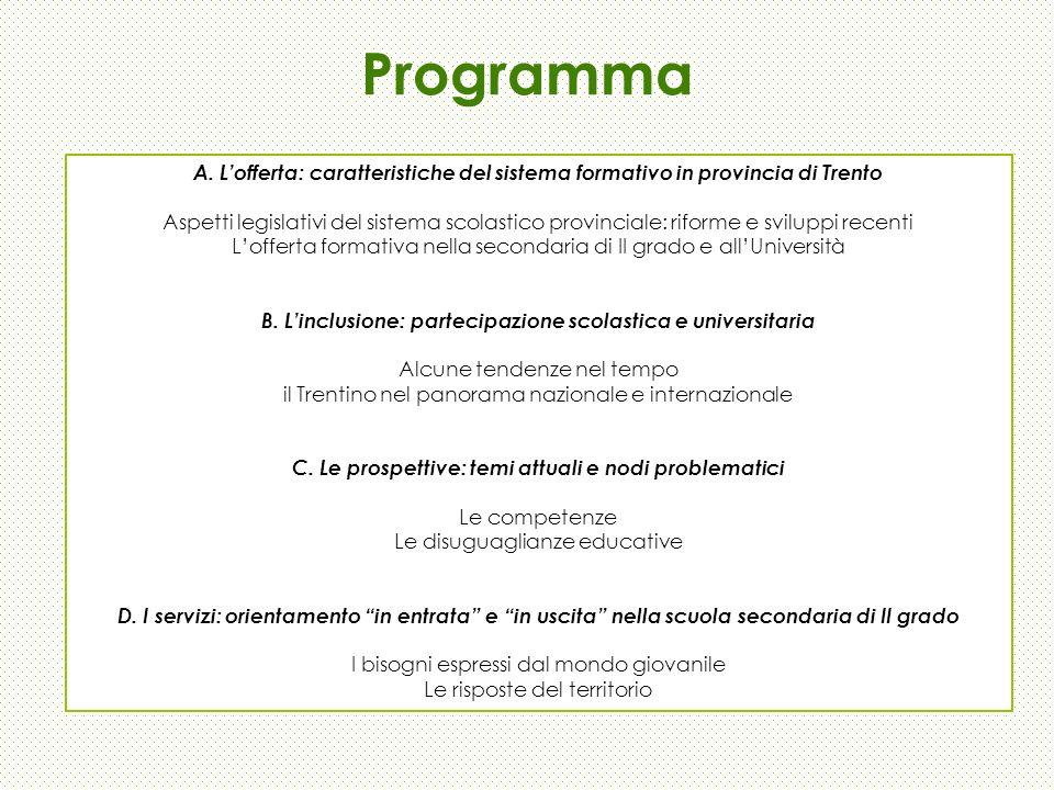 Programma A. L'offerta: caratteristiche del sistema formativo in provincia di Trento.