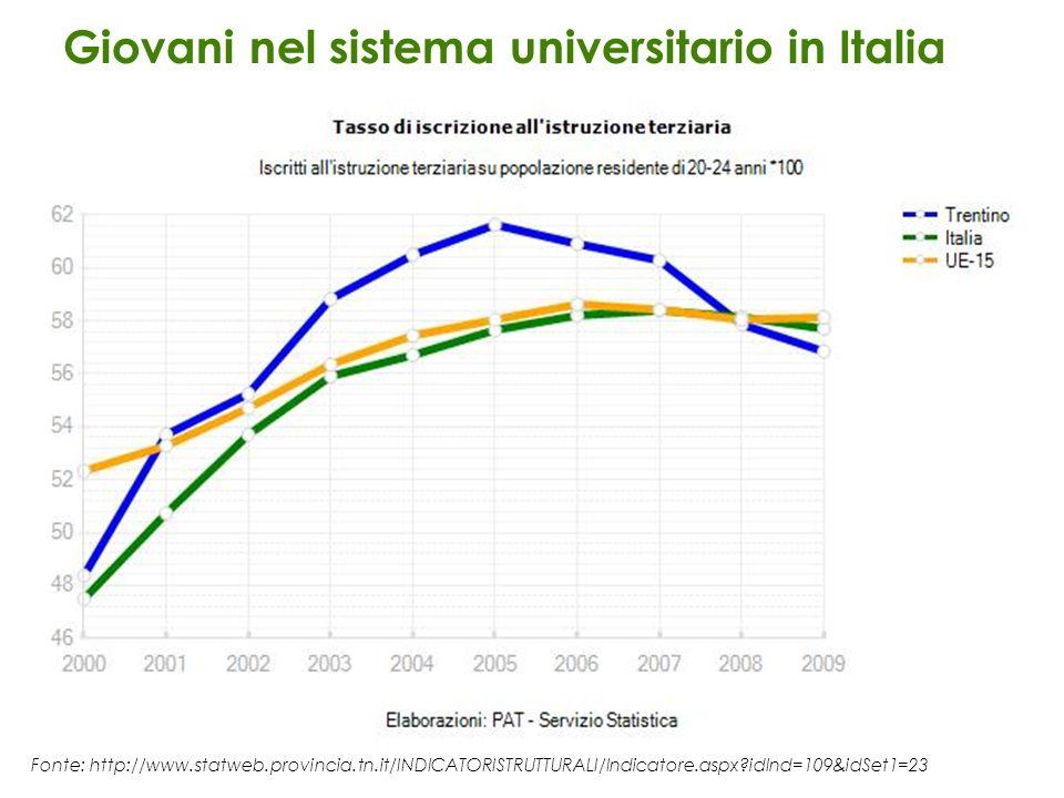 Giovani nel sistema universitario in Italia