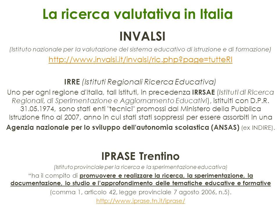 La ricerca valutativa in Italia