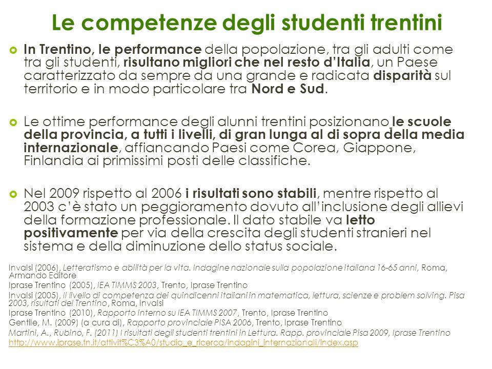 Le competenze degli studenti trentini
