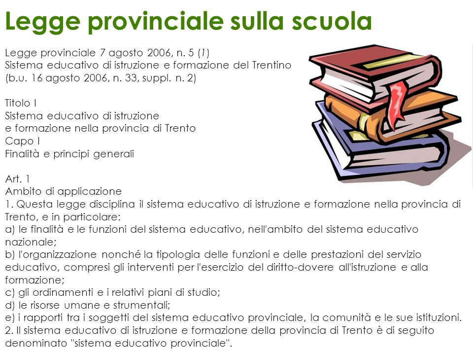Legge provinciale sulla scuola