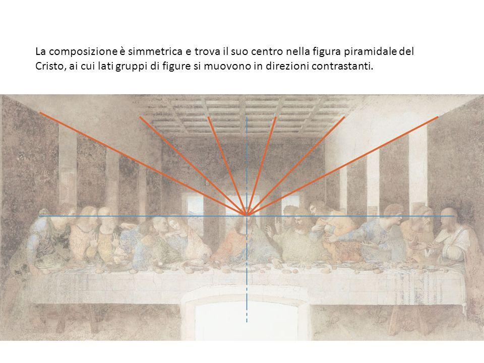 La composizione è simmetrica e trova il suo centro nella figura piramidale del Cristo, ai cui lati gruppi di figure si muovono in direzioni contrastanti.