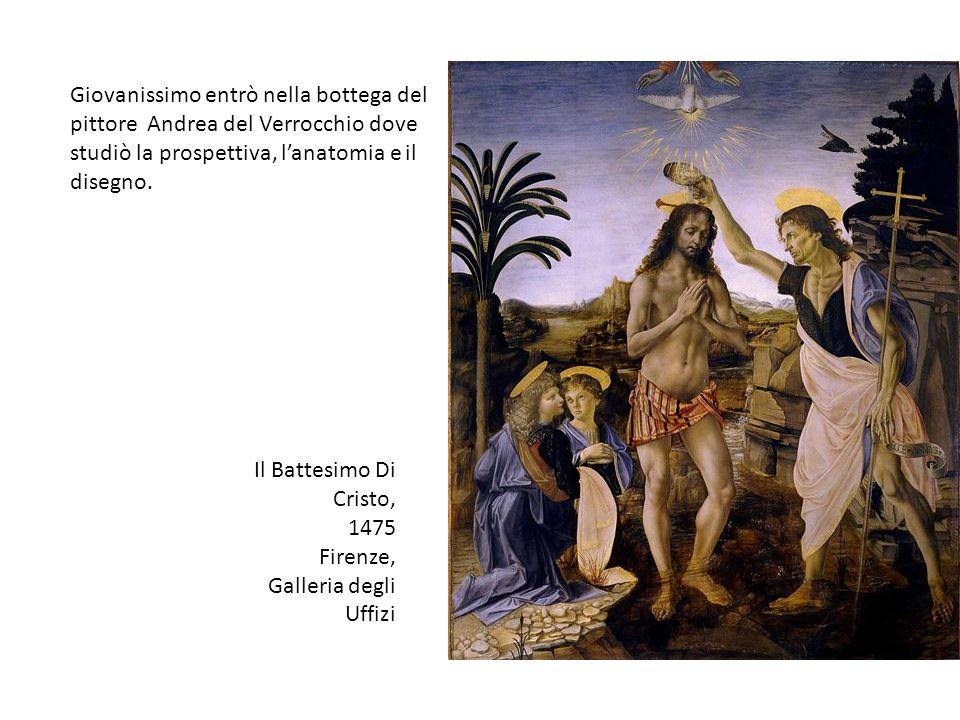 Giovanissimo entrò nella bottega del pittore Andrea del Verrocchio dove studiò la prospettiva, l'anatomia e il disegno.
