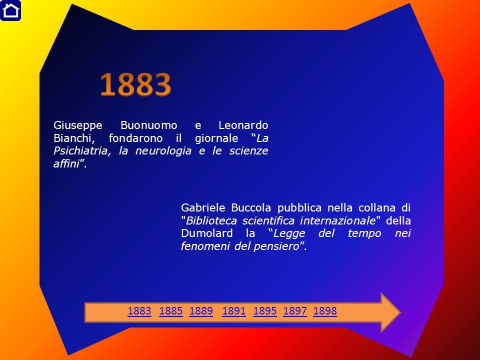 1883 Giuseppe Buonuomo e Leonardo Bianchi, fondarono il giornale La Psichiatria, la neurologia e le scienze affini .