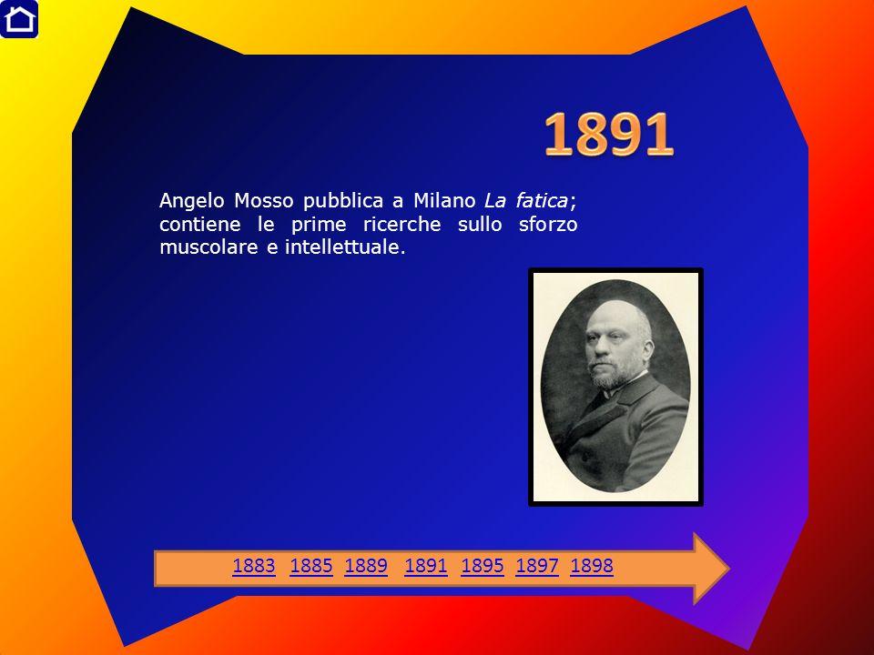1891 Angelo Mosso pubblica a Milano La fatica; contiene le prime ricerche sullo sforzo muscolare e intellettuale.