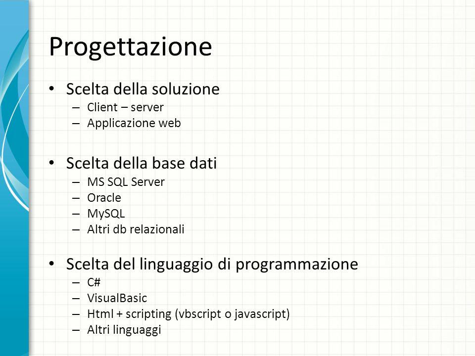 Progettazione Scelta della soluzione Scelta della base dati