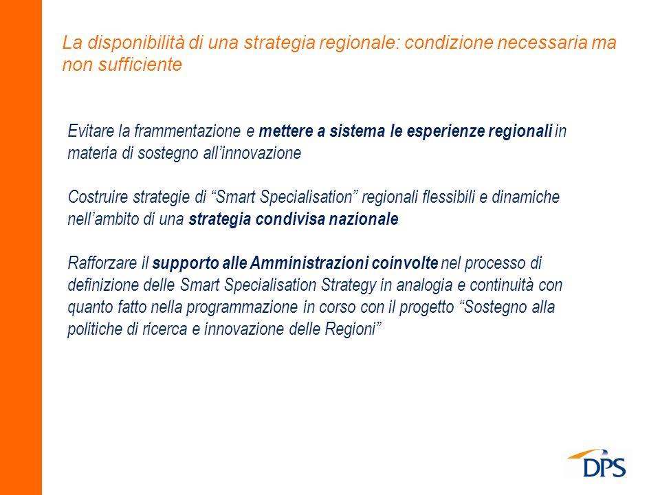 La disponibilità di una strategia regionale: condizione necessaria ma non sufficiente