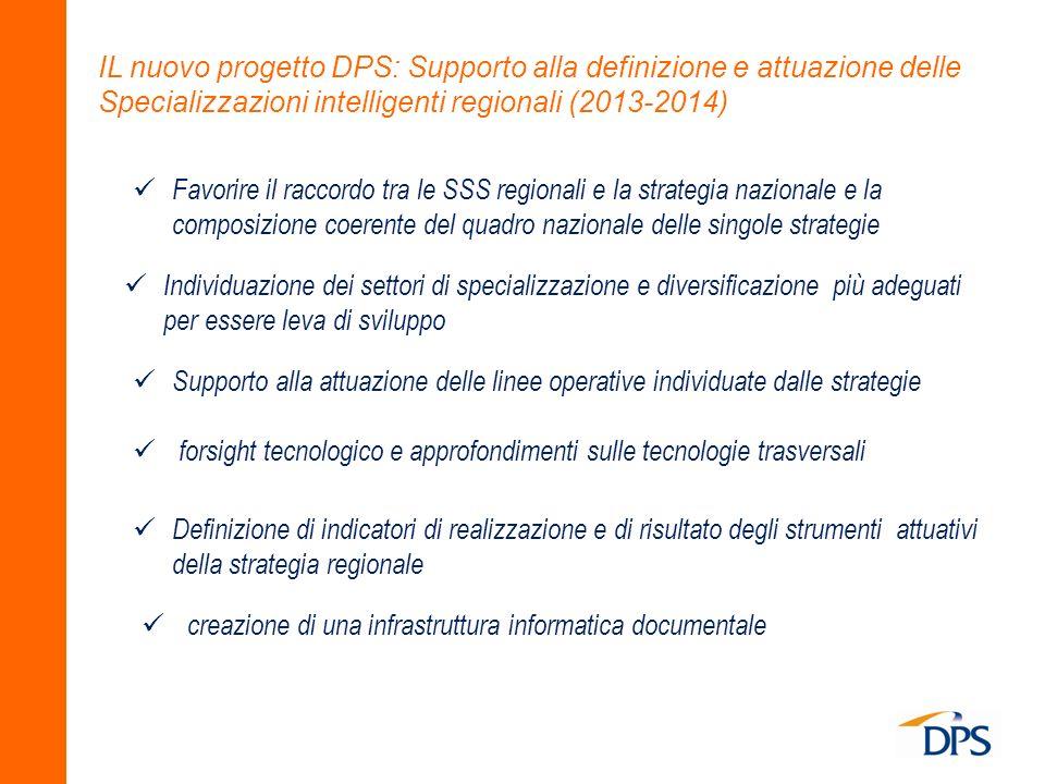 IL nuovo progetto DPS: Supporto alla definizione e attuazione delle Specializzazioni intelligenti regionali (2013-2014)