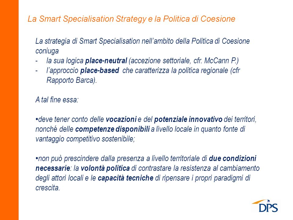 La Smart Specialisation Strategy e la Politica di Coesione