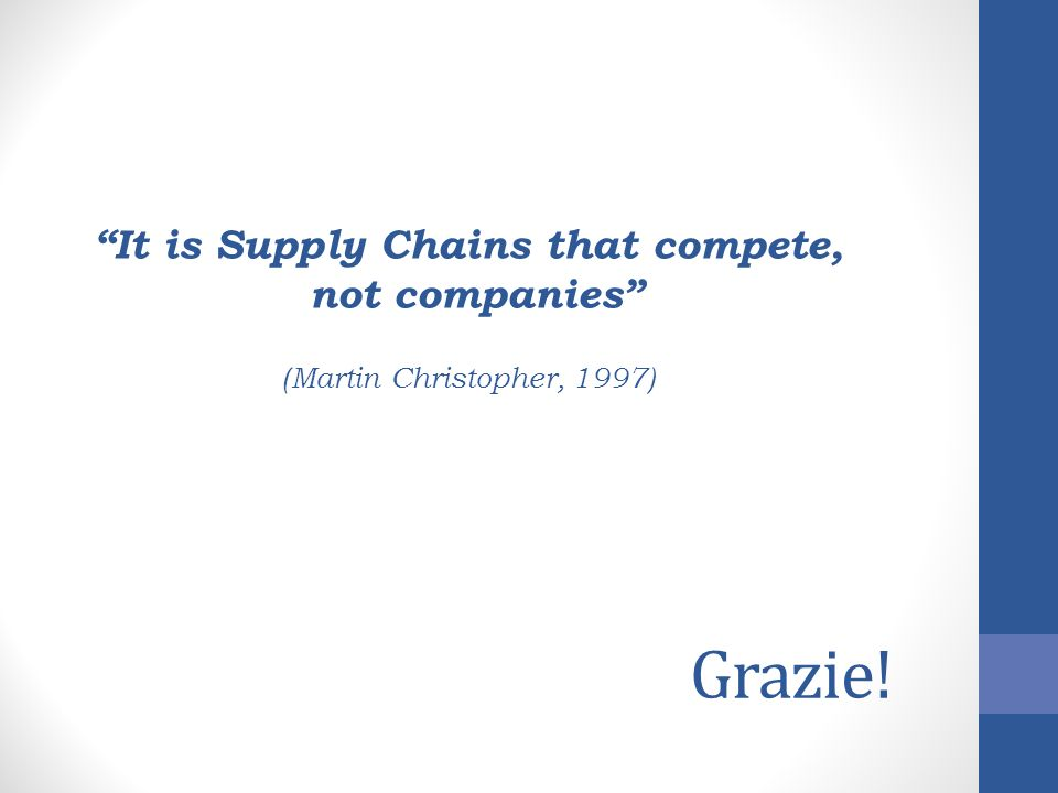 It is Supply Chains that compete,