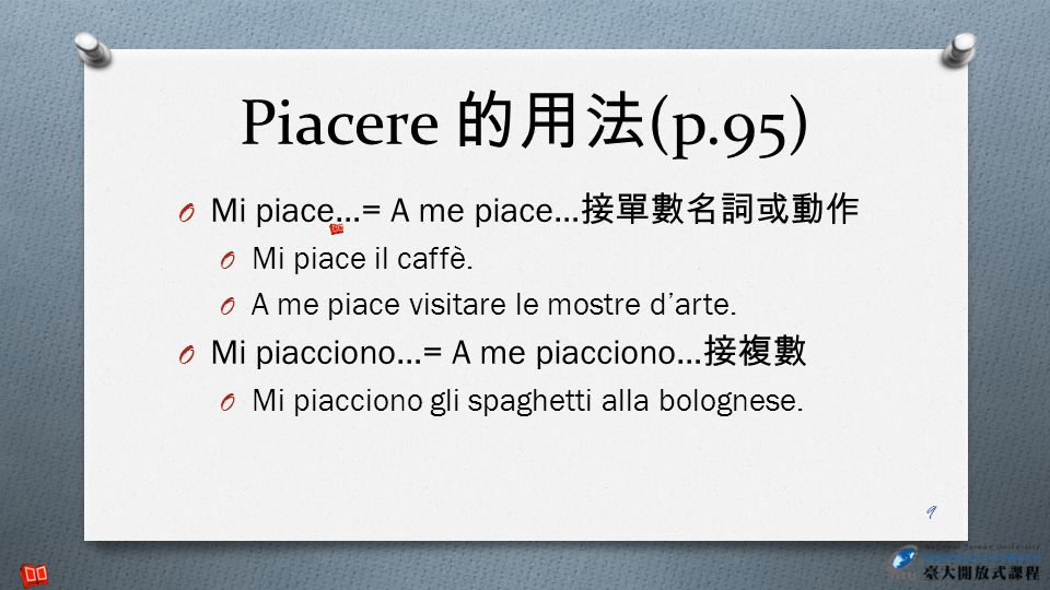 Piacere 的用法(p.95) Mi piace…= A me piace…接單數名詞或動作