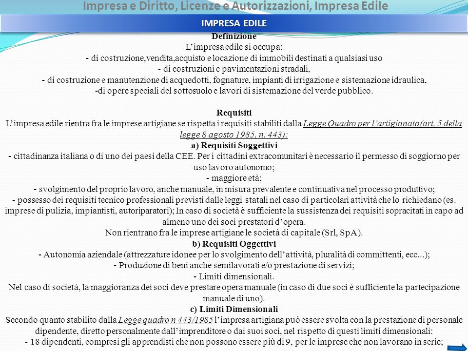 Impresa e Diritto, Licenze e Autorizzazioni, Impresa Edile