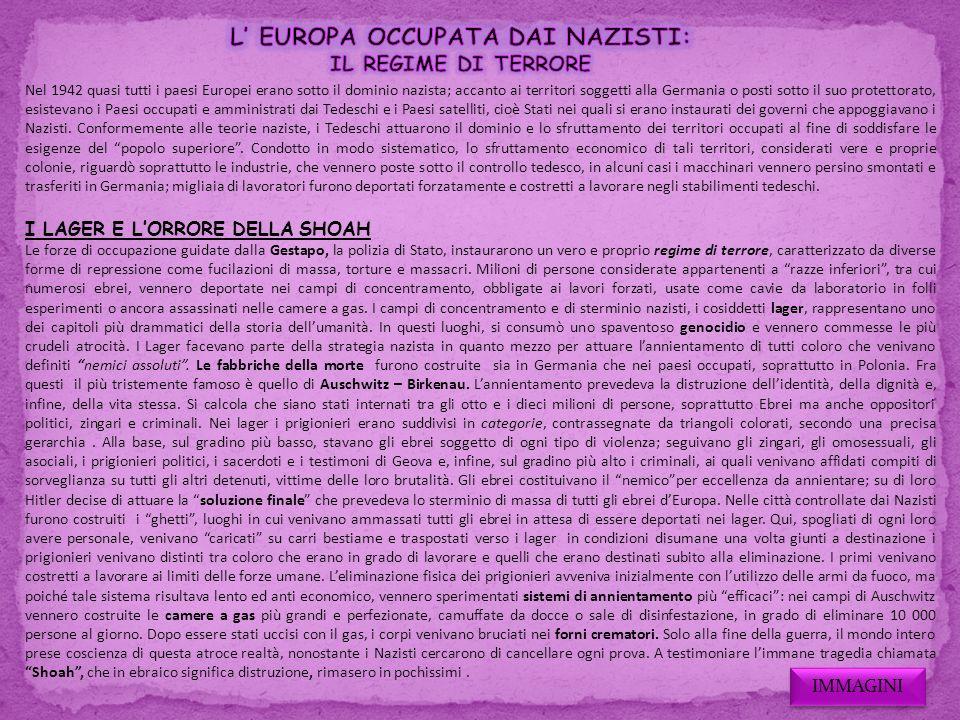 L' EUROPA OCCUPATA DAI NAZISTI: